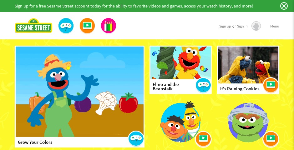 Nominee - Sesame Street Website