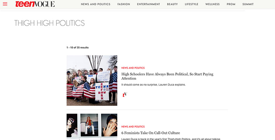 "Nominee - Teen Vogue – ""Thigh High Politics"""