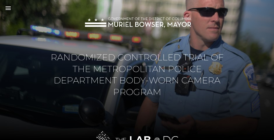 Nominee - RANDOMIZED CONTROLLED TRIAL OF THE METROPOLITAN POLICE DEPARTMENT BODY-WORN CAMERA PROGRAM
