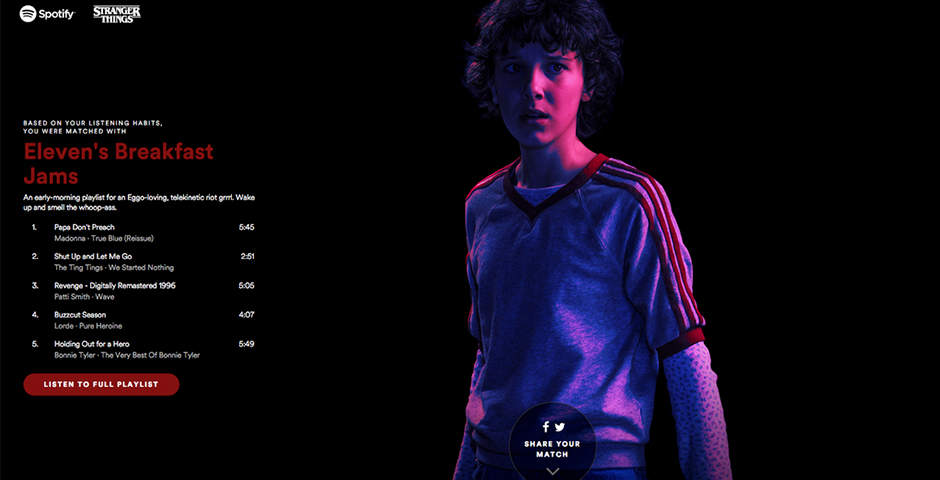 "Nominee - Spotify and Netflix Partner to Transport Stranger Things Fans to the ""Upside Down"""