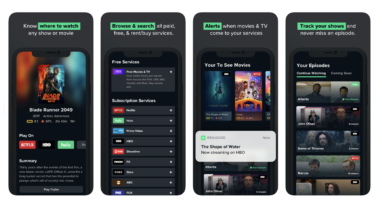 Webby Award Winner - Reelgood for iOS