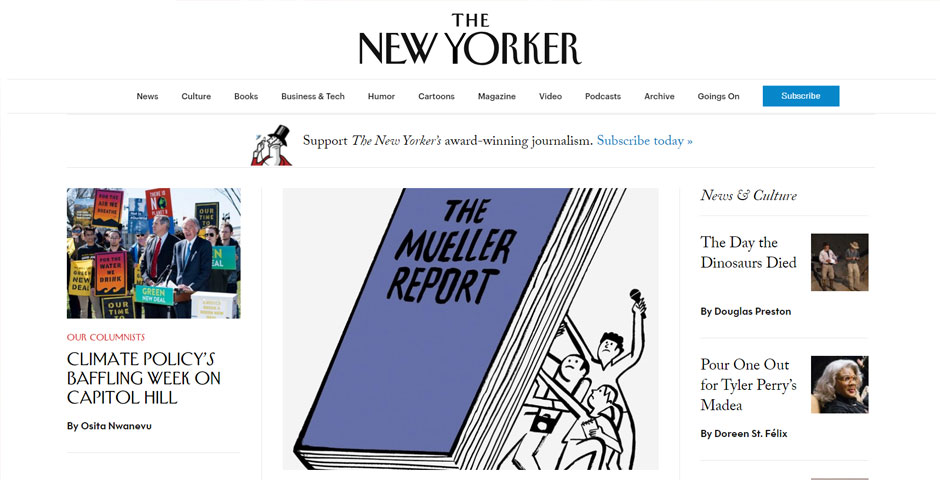 People's Voice / Webby Award Winner - The New Yorker's Web Site