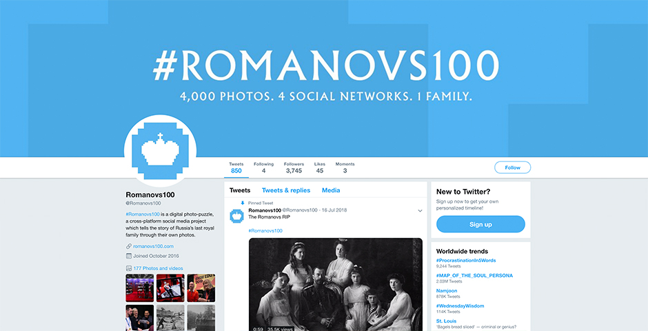 Nominee - #Romanovs100: 4,000 photos. 4 social networks. 1 family.