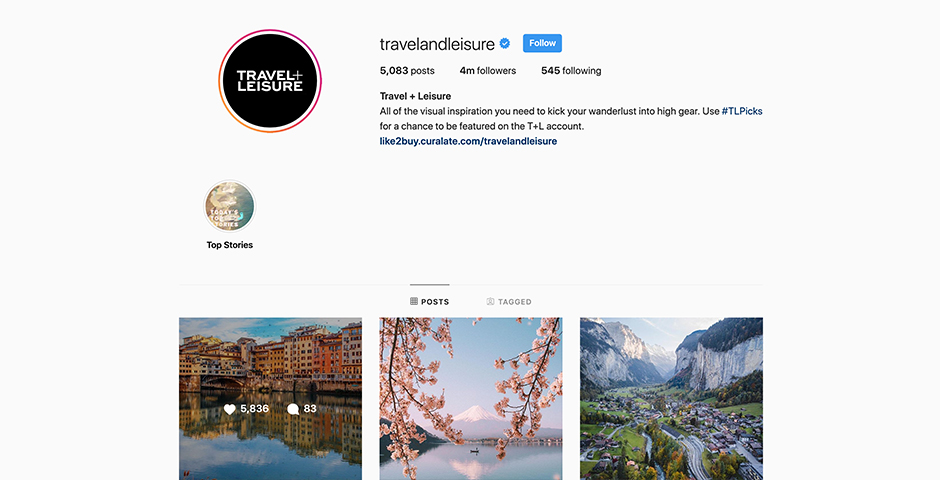 Nominee - Travel + Leisure Social
