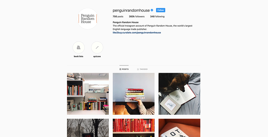 Nominee - Penguin Random House Instagram