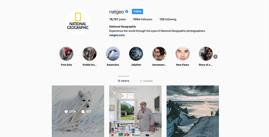 People's Voice / Webby Award Winner - National Geographic Instagram