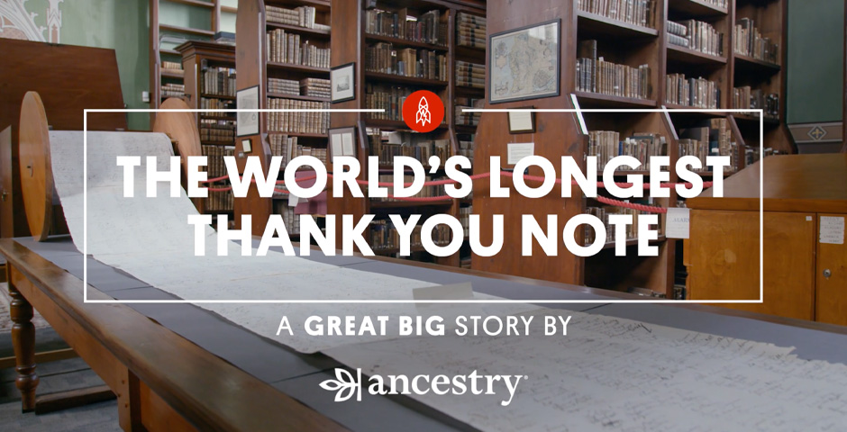 "People's Voice - Ancestry x Great Big Story ""The World's Longest Thank You Note"""