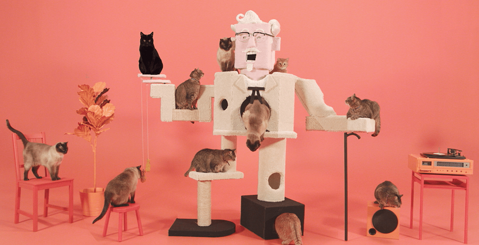 People's Voice / Webby Award Winner - Colonel Sanders Cat Climber