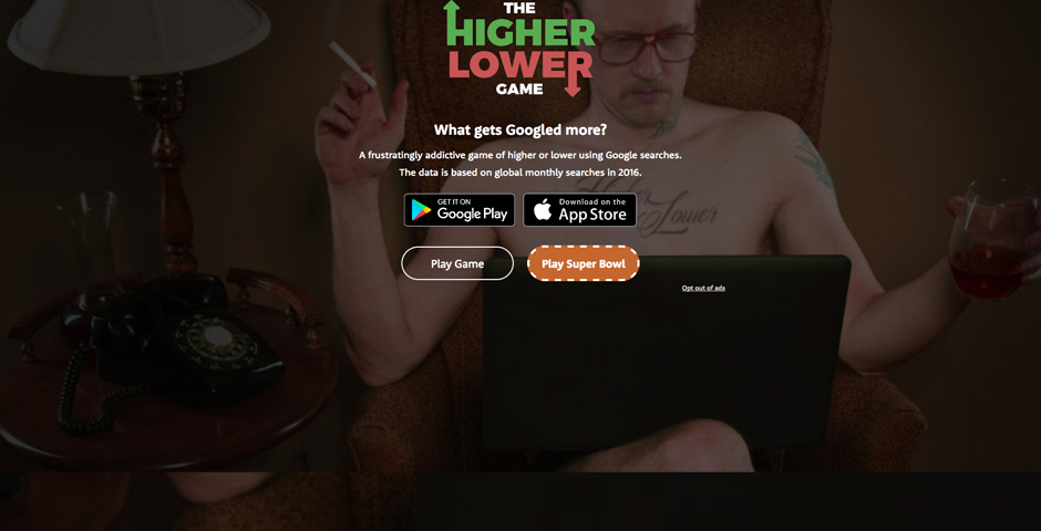 Webby Award Nominee - The Higher Lower Game