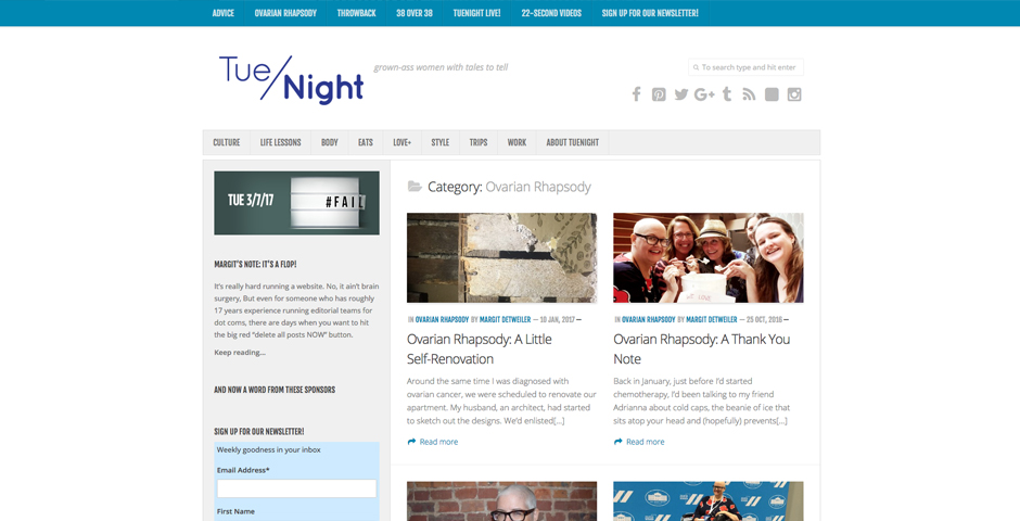 """Nominee - """"Ovarian Rhapsody"""" column on TueNight"""