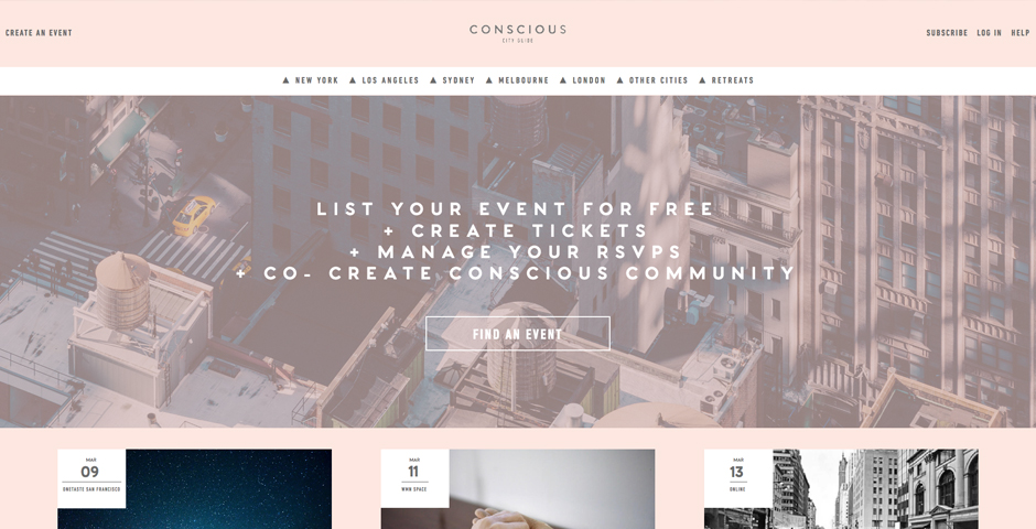 Nominee - Conscious City Guide – Event Hub for a Conscious Community