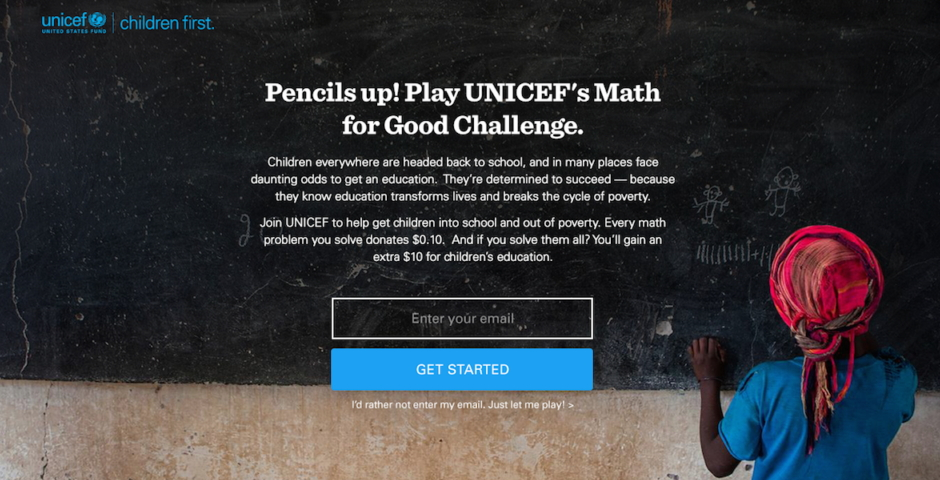 Webby Award Nominee - UNICEF Math for Good Challenge