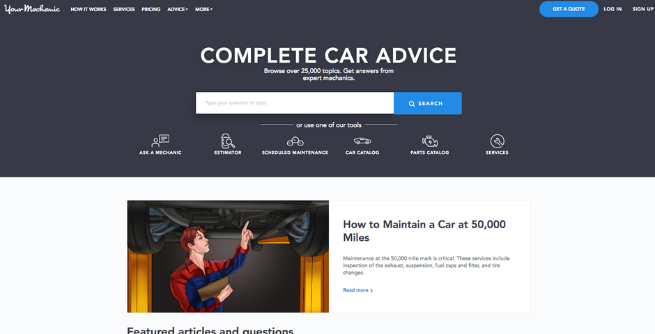 Nominee - YourMechanic Advice – Browse over 25,000 topics. Get answers from expert mechanics.