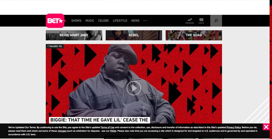 Honoree - BET.com site redesign