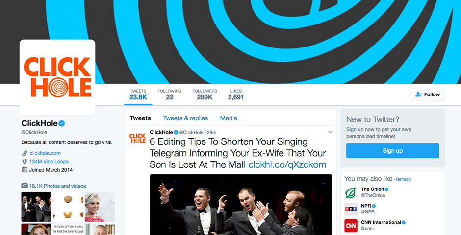 People's Voice / Webby Award Winner - ClickHole