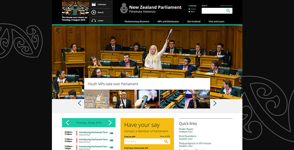 Webby Award Nominee - New Zealand Parliament