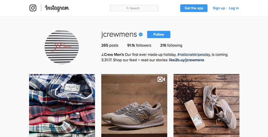 Nominee - J.Crew Men's Instagram